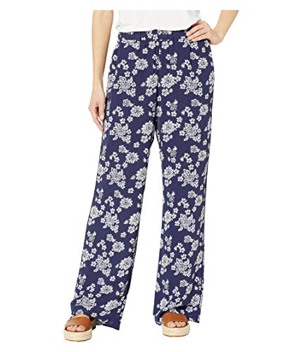 Michael Michael Kors Women's Tossed Lace Floral Print Pull-On Georgette Wide Leg Pants, True Navy/White (X-Small) ()