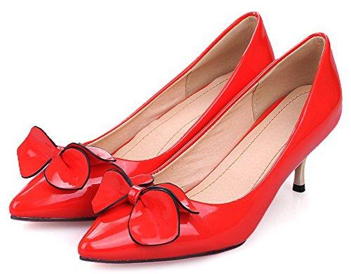 Aisun, Donna, Carino, Stiletto, Gattino, Tacco, Slip On Dressy Wear To Work Scarpe A Punta Pompe Con Fiocco Rosso