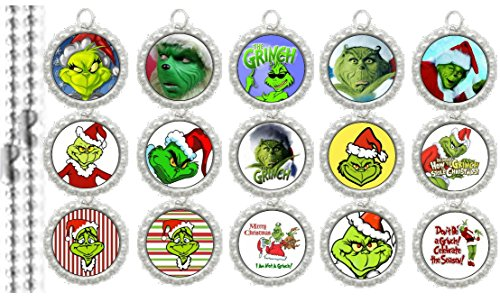 15 The Grinch Silver Bottle Cap Pendant Necklaces Set 3 (Pendants Cap Bottle Set)