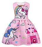 AmzBarley Girls Unicorn Dress up Costume Kids Sleeveless Princess Party Dresses Halloween Birthday Fancy Dress Pink 100/3T