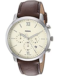 Fossil Men's 'Neutra Chrono' Quartz Stainless Steel and Leather Casual Watch, Color:Brown (Model: FS5380)