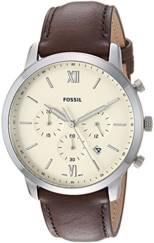 Fossil Men's 'Neutra Chrono' Quartz Stainless Steel and Leather Casual Watch, Color:Brown (Model: - Mens Strap Fossil Brown