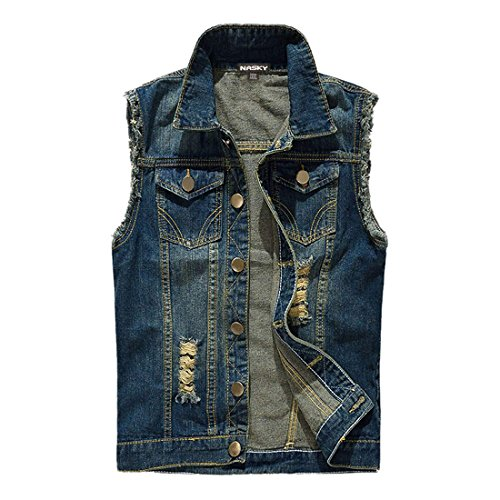 NASKY Men's Fit Retro Ripped Denim Vest Sleeveless Lapel Jean Vest Jacket Waistcoat Top Vest Plus Size Medium Dark Blue -