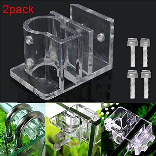2pcs Acrylic Aquarium Hose Holder Fish Tank Tube Clamp Water Pipe Fixing Clip