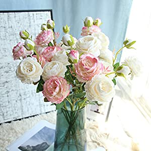 Gotian Artificial Fake Western Rose Flower Peony Bridal Bouquet Wedding Home Decor ~ for Decorating Wedding Party, Your Home, Garden Decoration, Office, Coffee House 44