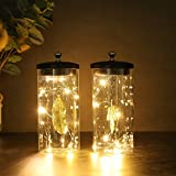 """JHY DESIGN Set of 2 Leaf Pendant Decorative Lamp Battery Powered Lights 7"""" Tall Cordless Lamp Light with Fairy Lights for Living Room Bedroom Kitchen Wedding Xmas"""