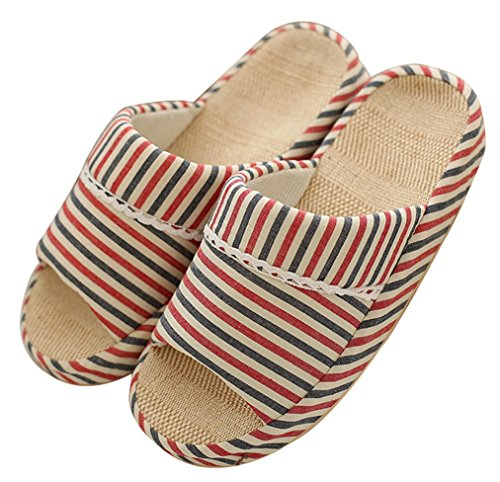 Blubi Womens Summer Stripes Flax House Slippers Cozy Ladies Slippers Bedroom Slippers Red MmC5LHP