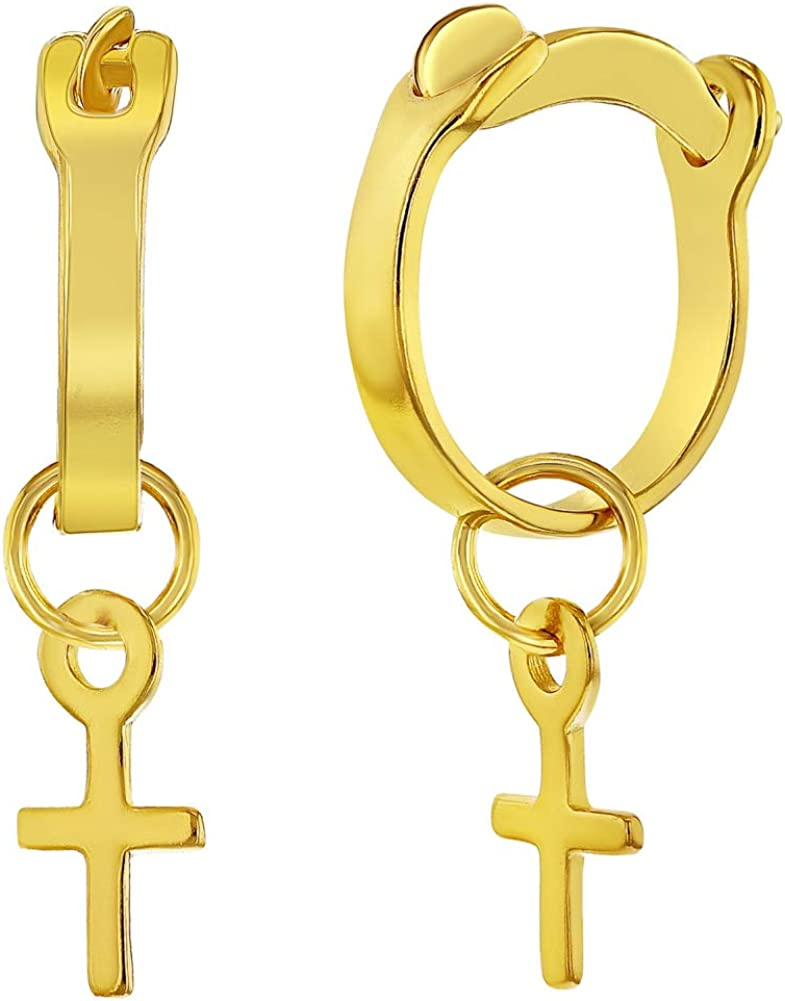 925 Sterling Silver Gold Flashed Small Plain Cross Hoop Earrings for Girls 0.35
