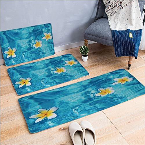 3 Piece Non-Slip Doormat 3D Print for Door mat Living Room Kitchen Absorbent Kitchen mat,Frangipani Flower Floating in Water Pool,15.7