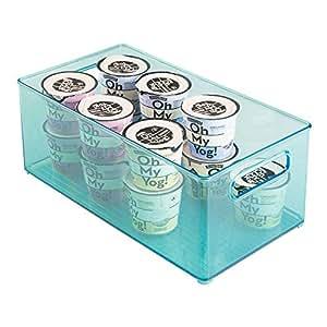 "mDesign Refrigerator and Freezer Storage Organizer Bin for Kitchen - 8"" x 6"" x 14.5"", Aqua Blue"