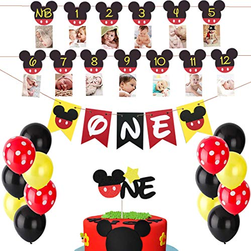 Mickey Mouse 1st Birthday Decorations (Mickey Mouse First Birthday Set Mickey 1St Birthday Cake Topper Balloons Party Decorations High Chair Banner Mickey Mouse Baby Boy Photo Booth)