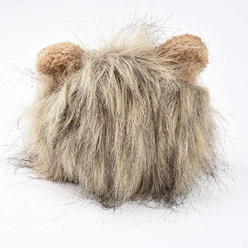 Elaco Man-Made Fur Material Furry Pet Hat Costume Lion Mane Wig for Cat Halloween Dress Up with Ears Party Costume Designed for Your Pets (Gray)]()