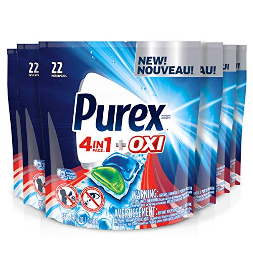 Purex 4-in-1 + OXI Laundry Detergent Pacs, Fresh Morning Burst, 22Count, Pack of 6, 132 Total ()
