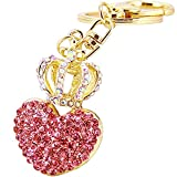 Bolbove Crown with Love Heart Keychain Crystal Keyring Rhinestones Purse Pendant Handbag Charm (Pink)