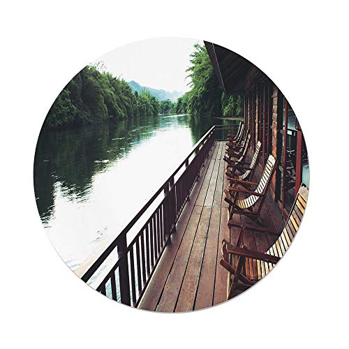 River Lodge Resort - Polyester Round Tablecloth,Asian,Wooden Chairs in Floating Hotel on the River Kawai in Thailand Idyllic Resort Travel,Brown Green,Dining Room Kitchen Picnic Table Cloth Cover,for Outdoor Indoor