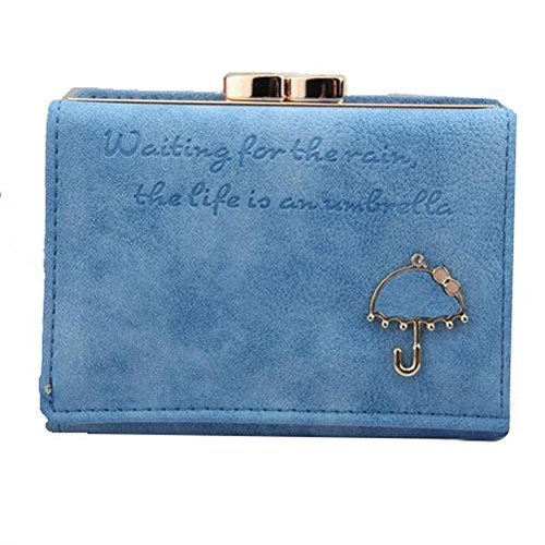 (The Orient Bee Women's Vintage Trifold Suede Leather Clutch Bric Cards Holder Mini Wallets(light blue))