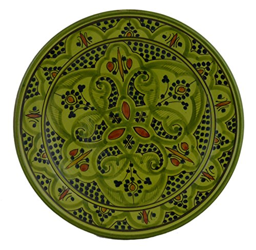 Ceramic Plates Moroccan Handmade Serving, Wall Hanging, Exquisite Colors Decorative Large 12 inches -