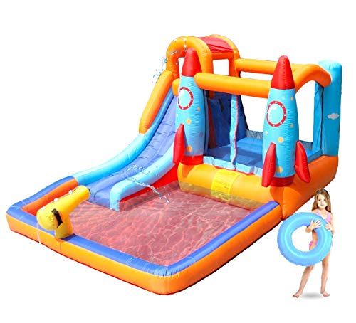 - Kids Inflatable Pool. This Cool Small Portable Kiddie Blow Up Above Ground Paddling, Swimming Pool with Slide is Great for Toddlers, Children, Baby to Have Outdoor Water Fun with Floats, Toys