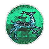 KESS InHouse Anne Labrie Dance on Green Blue Round Beach Towel Blanket