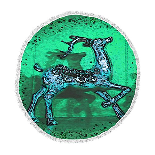 KESS InHouse Anne Labrie Dance on Green Blue Round Beach Towel Blanket by Kess InHouse