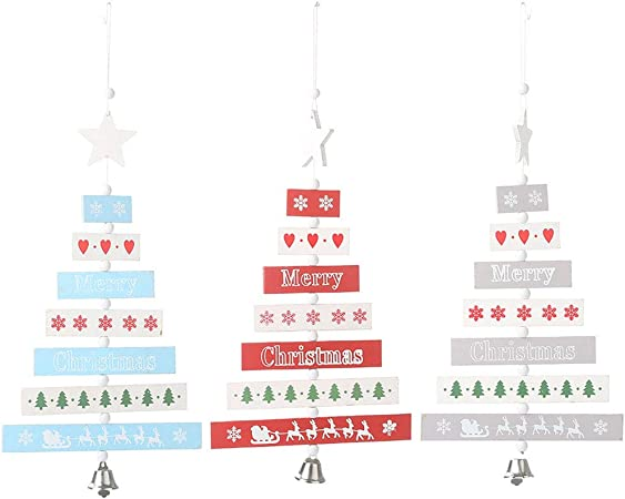 Merry Christmas Party Letters Wooden Pendant Door Decorations Hanging Ornaments