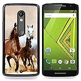 Horses Galloping Mustang Brown Fur Designed Hard Plastic Protective Case King Case For Motorola Verizon DROID MAXX 2 / Moto X Play