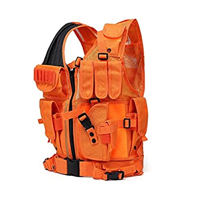 GNNFIC Bright Orange Hunting Vest Miliary Tactical Molle Airsoft Vest Outdoor Combat Traning Adults