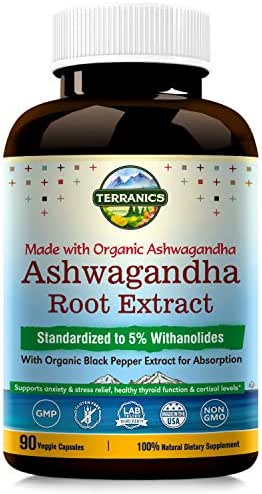 Organic Ashwagandha Root Extract with Black Pepper Extract 2100mg, 90 Veggie Capsules, Anxiety & Stress Relief, Cortisol & Adrenal Support