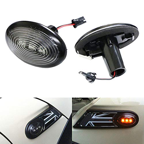 Auto Accessories 2006 Mini - iJDMTOY Black Smoked Lens Amber LED Front Sidemarker Lamps For 06-14 MINI Cooper MKII (2nd Gen)