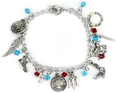 Blue Heron Percy Jackson 10 Logo Charms Toggle Clasp Bracelet w/Gift Box