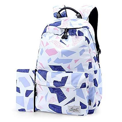 SQB Patrones geométricos, mochila, tela de agua a prueba de lluvia, de colores