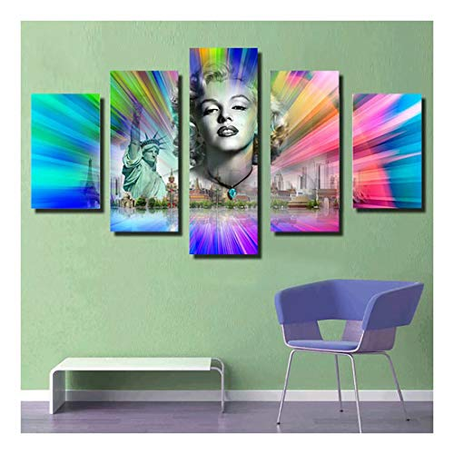 FlowerBeads Full Drill Crystal Diamond Painting, Easy Crystal Diamond Embroidery Kit Home Wall Decor - Marilyn Monroe Statue of Liberty - Monroe Statue