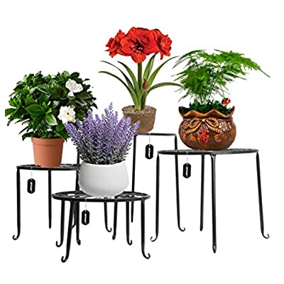 AISHN Metal Plant Stand 4 in 1 Potted Irons Planter Supports Floor Flower Pot Round Rack Display with Scroll Pattern Perfect for Home, Garden, Patio: Garden & Outdoor