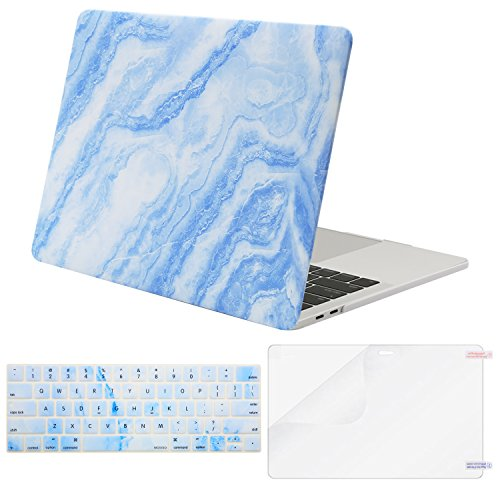 MOSISO MacBook Pro 13 Case 2018 2017 2016 Release A1989/A1706/A1708 w/ & w/o Touch Bar,Plastic Pattern Hard Case & Keyboard Cover & Screen Protector Compatible Newest Mac Pro 13 in,White Blue Marble