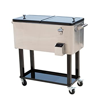 Tenive 80 Quart Stainless Patio Cooler Portable Ice Cooler Cart Rolling  Party Drink Entertaining Outdoor