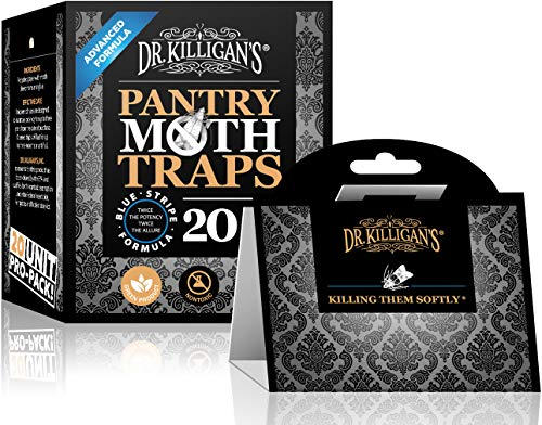 (Dr. Killigan's Premium Pantry Moth Traps with Pheromone Attractant | Safe, Non-Toxic with No Insecticides | Pro Pack (20, Black Traps))
