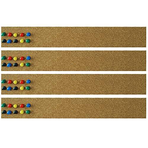 Lockways Cork Bulletin Bar Strip Set 4 piceses, 2 x 15 Inch, Frameless Cork Board Memo Strip for Office, School, - Bulletin Strips Board Cork