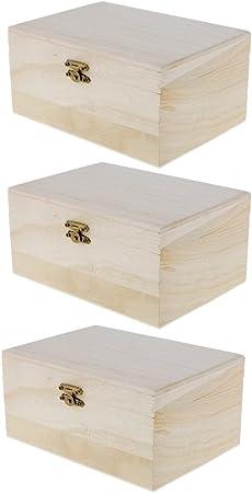 Caja de Almacenamiento de Madera para DIY Bricolaje Artesanía - 3 Piezas: Amazon.es: Hogar