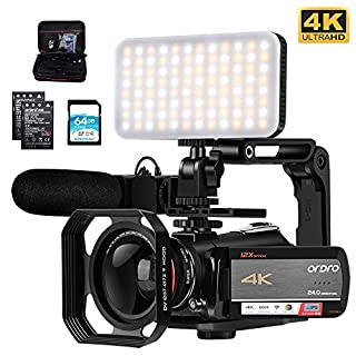 """Camcorder 4K Video Camera, ORDRO AC5 UHD Camcorder with 12x Optical Zoom 3.1""""IPS Touchscreen HD 1080P 60FPS Digital WiFi Camera Camcorder with Microphone, Video Light, Wide Angle Lens and 64G SD Card"""