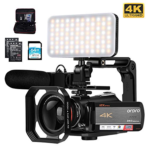 Camcorder 4K Video Camera, ORDRO AC5 UHD Camcorder with 12x Optical Zoom 3.1″IPS Touchscreen HD 1080P 60FPS Digital WiFi Camera Camcorder with Microphone, Video Light, Wide Angle Lens and 64G SD Card