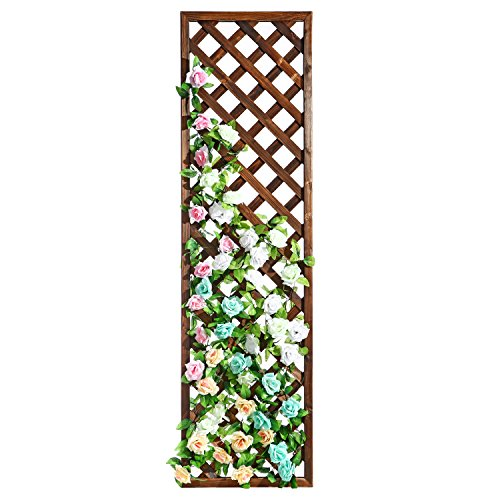 (MyGift Rectangular Wood Garden Trellis, Wall Mounted Lattice Plant Screen, Brown)