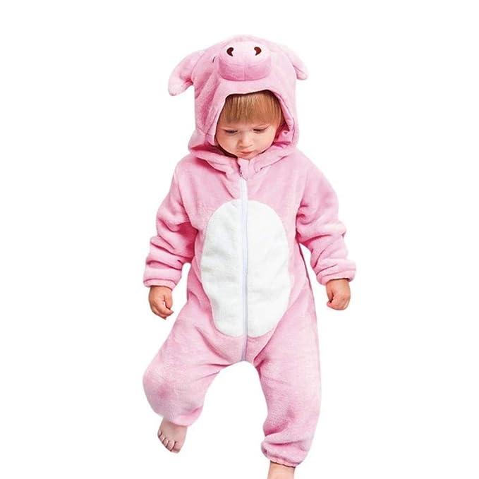 SMS Shoppe Onesie - Disfraz de cerdo rosa de franela para niña ...