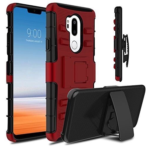 LG G7 ThinQ Case, Venoro Heavy Duty Shockproof Armor Holster Defender Rugged Protective Case Cover with Kickstand and Belt Swivel Clip for LG G7 / LG G7+ ThinQ/LG G7 One/LG G7 Fit (Red Black)