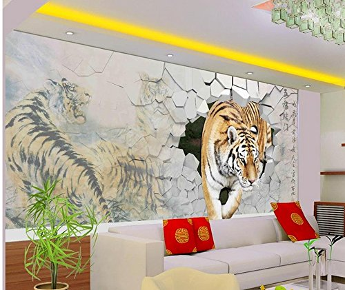 LHDLily 3D Murals Wallpaper For Living Room Tiger 3D Living Room Tv Wall Living 3D Wallpaper Home Decoration 350cmX250cm by LHDLily