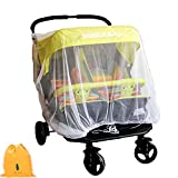 Mosquito Net for Baby Double Strollers,Carriers, Cradles, Car Seats,Universal Size, Insect Bug Netting Buggy Cover ,Twin/Tandem Stroller Cover, White, Weather Protection