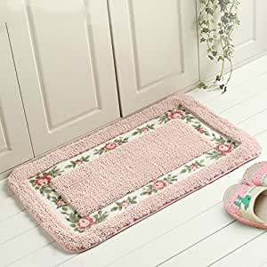 B S Feel Soft Floral Rose Pattern Non Slip Absorbent Shaggy Carpet Area Rug Doormat
