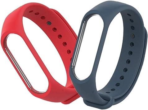 Kcdream Xiaomi Mi Band 3 Pulsera Correa, Silicona Banda de Repuesto Correa de Recambio Impermeable Reloj para XIAOMI Mi Band 3 (Rojo+Azul Oscuro): Amazon.es: Deportes y aire libre