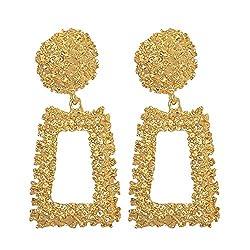 Women Girl Raised Design Dangle Statement Earrings Golden Silver Gorgeous Geometric Shaped Ear Stud Hoop Earrings