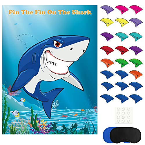 FEPITO Pin The Fin on The Shark Game with 24 Pcs Fins for Shark Birthday Party Decoration, Baby Shark Party Supplies -