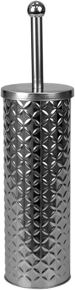 Home Basics Embossed Stainless Steel Toilet Brush Holder, Silver